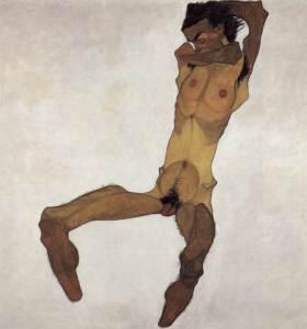 Schiele - Nudo maschile seduto (Autoritratto)
