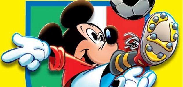 Dettaglio della copertina di Topolino 3019 disegnata da Giorgio Cavazzano in omaggio alla Panini di Modena e alle sue figurine dei calciatori