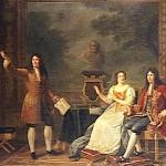 Luigi XIV con Madame de Maintenon e Racine