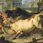 Giasone ammansisce i tori di Eete in un dipinto di Jan-François de Troy