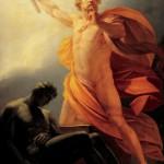 Prometeo ruba il fuoco in un dipinto di Heinrich Friedrich Füger
