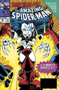 Shriek minaccia Spider-Man su una cover di Mark Bagley