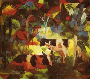 Paesaggio con mucche e cammelli di August Macke