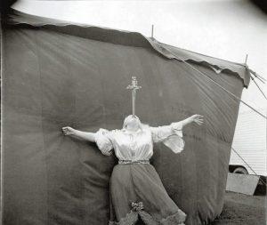 Albino Sword Swallower at a Carnival, 1970