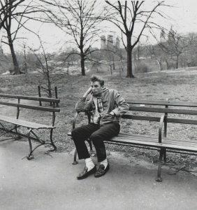 Teenage boy on a bench in Central Park, N.Y.C., 1962