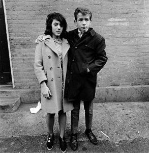 Teenage couple on Hudson Street, New York, 1963