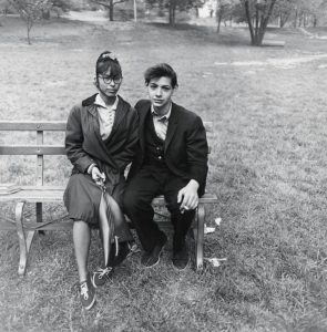 Young Puerto Rican couple on a bench, N.Y.C., 1962