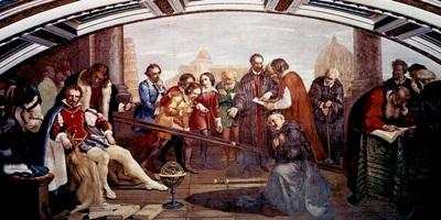 Galileo illustra i principi della caduta dei gravi