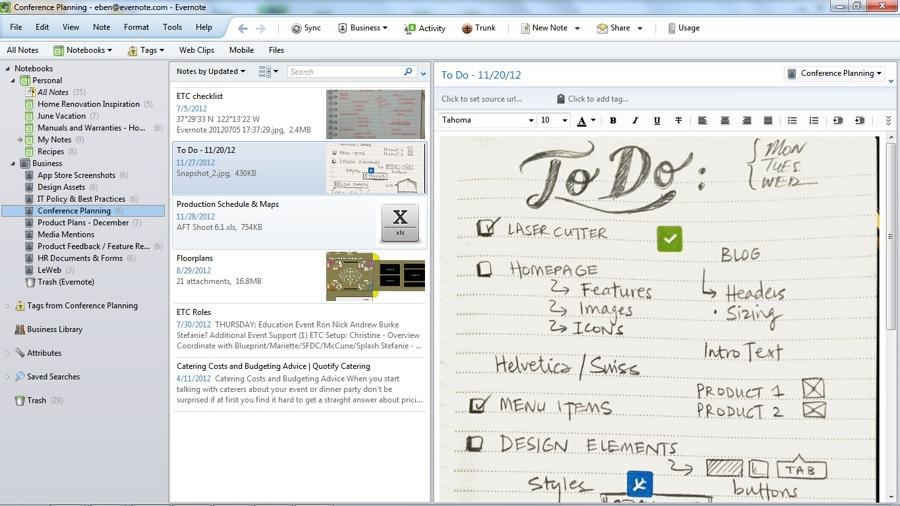 Come funziona Evernote? Ecco una nota derivata da uno screenshot