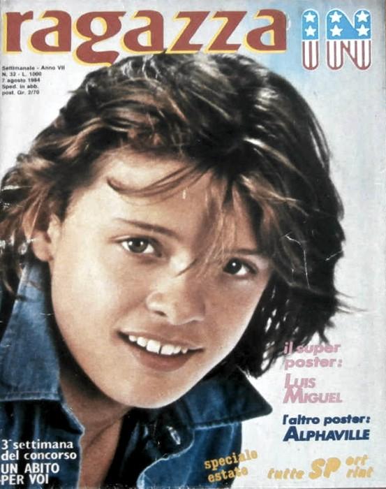 Luis Miguel sulla copertina di una rivista per ragazze ai tempi della sua partecipazione a Sanremo