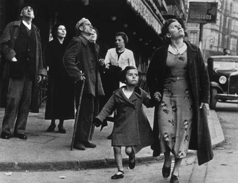 Bilbao. Crowds running for shelter as the air-raid alarm sounds