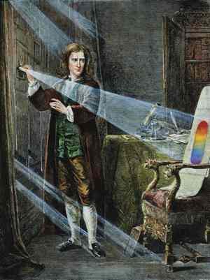 Isaac Newton fa passare la luce attraverso il prisma
