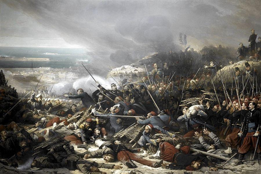 Combattimenti lungo la gola di Malakoff nel settembre 1855 in un dipinto di Adolphe Yvon