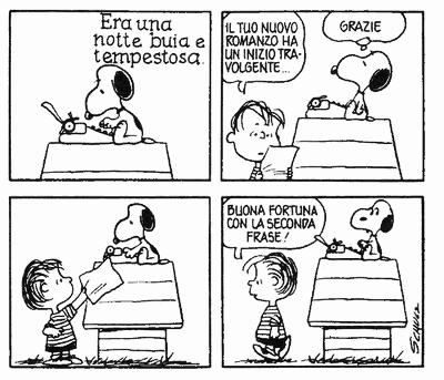 Linus commenta le ambizioni letterarie di Snoopy in una striscia dei Peanuts del 1969