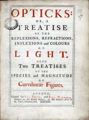 Frontespizio di Opticks, trattato di ottica di Newton