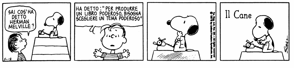 Snoopy segue i consigli di Herman Melville