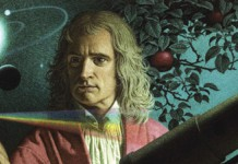 Isaac Newton in mezzo alle sue scoperte