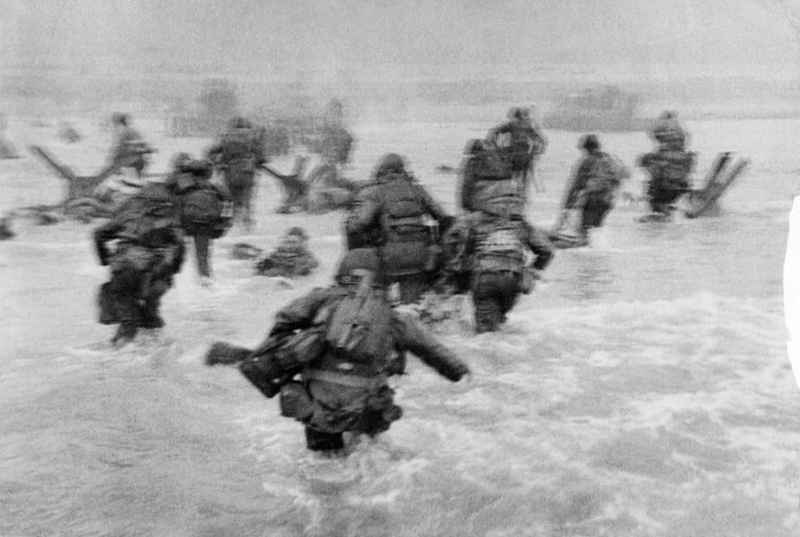 Normandy. Omaha Beach. The first wave of American troops lands at dawn