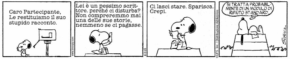 Le lettere di rifiuto degli editori a Snoopy scrittore