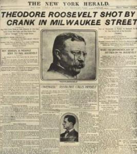 Un giornale d'epoca che racconta l'attentato a Theodore Roosevelt