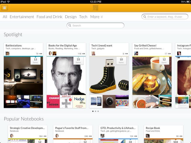 La videata di Springpad su browser