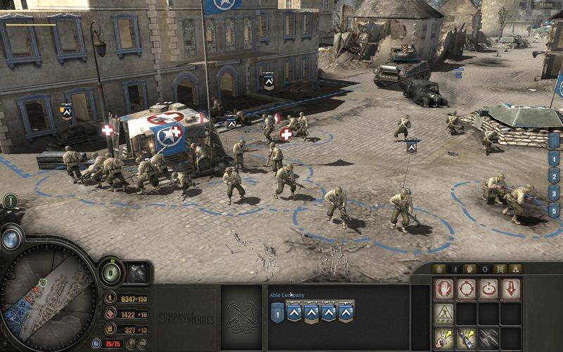 Uno screenshot di Company of Heroes, bel gioco di strategia militare per PC