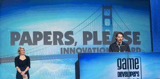 Lucas Pope durante le premiazioni per i Game Developers Awards del 2014