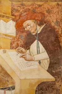 Ugone di Provenza nel famoso dipinto che documenta l'esistenza degli occhiali a metà Trecento