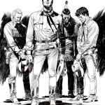Illustrazione di Claudio Villa in cui i pards sembrano rendere omaggio alla scomparsa di Sergio Bonelli