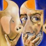 """""""Autoritratto con e senza la maschera"""" di Francesco Clemente"""