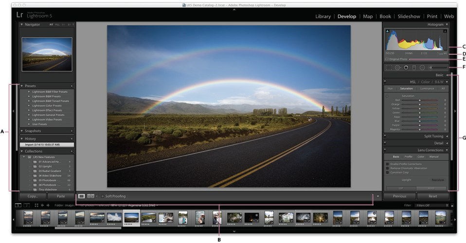 L'interfaccia di Lightroom