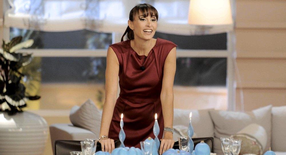 Benedetta Parodi durante una delle sue trasmissioni