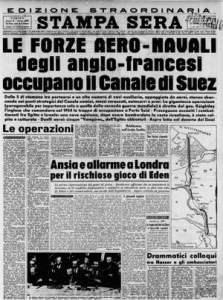 La prima pagina de La Stampa che annunciava l'intervento anglo-francese in Egitto