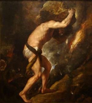 Sisifo col suo masso dipinto da Tiziano