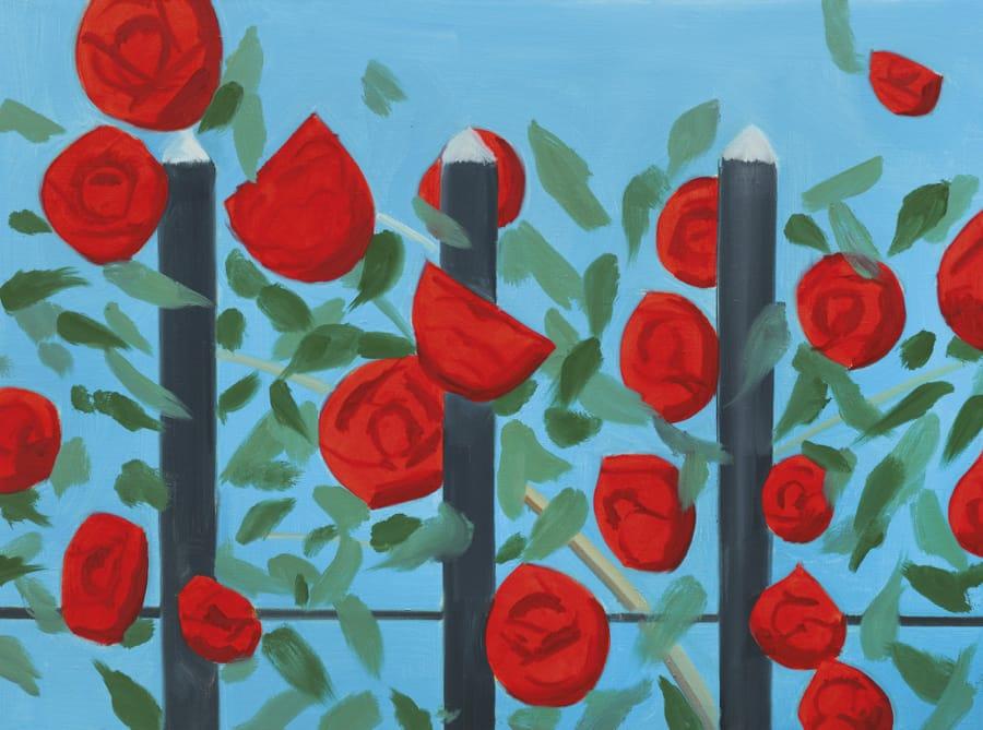 Alex Katz - Rose rosse con blu (2001)
