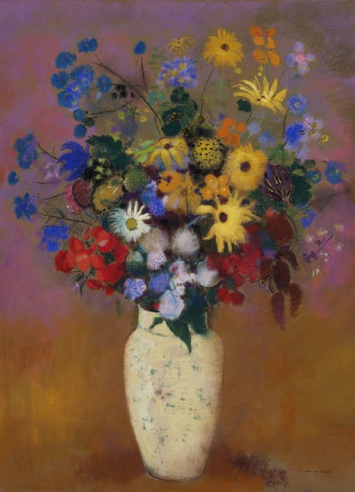 Odilon Redon - Vaso bianco con fiori (1916)