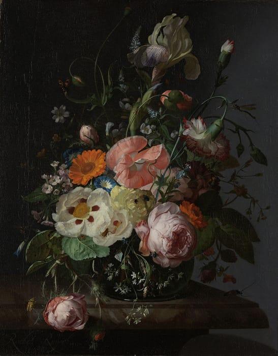 Rachel Ruysch - Natura morta con fiori su una lastra di marmo (1716)