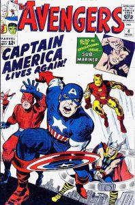 La copertina del quarto numero di The Avengers, una delle migliori storie della Marvel