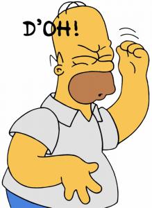 Homer Simpson mentre esclama il suo tipico «D'oh!»