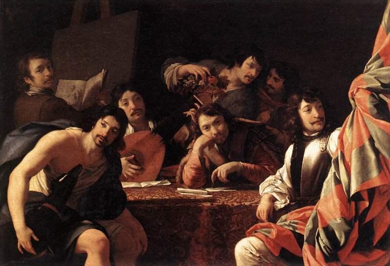 Una riunione di amici di Eustache Le Sueur