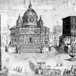 Ricostruzione di come doveva essere la Basilica di San Pietro secondo il progetto di Donato Bramante