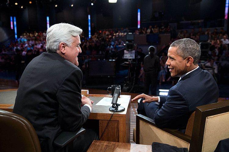 Jay Leno in una serata in cui ospitava il presidente Barack Obama nel suo talk show