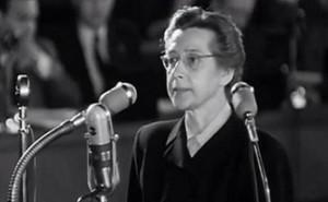 Milada Horakova durante il processo che la vide condannata a morte