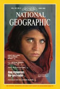Celebre copertina del National Geographic Magazine con il volto della ragazza afgana