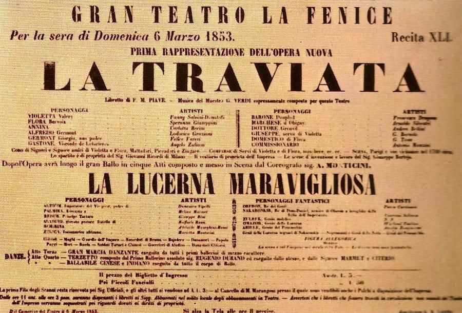 Il manifesto della prima della Traviata a Venezia nel 1853