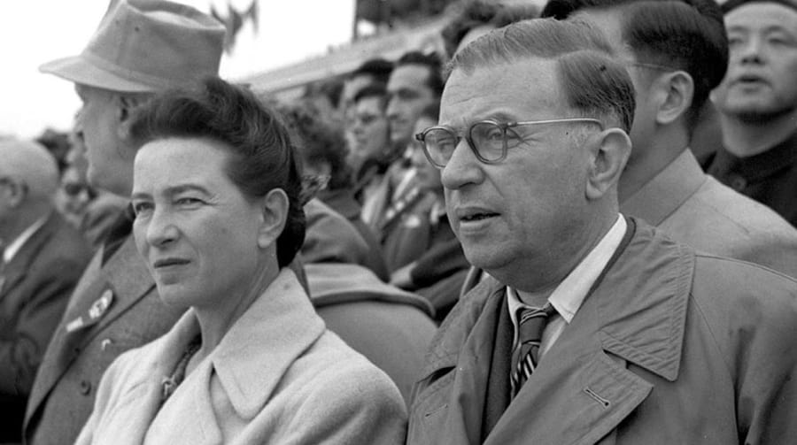 Jean-Paul Sartre con Simone de Beauvoir nel 1955