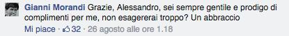 Morandi risponde a molti, ma sempre con modestia