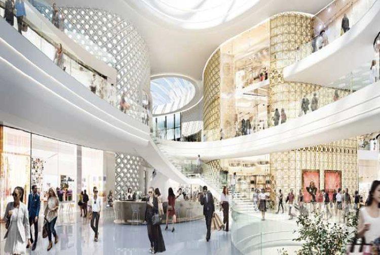 Un rendering degli interni del centro commerciale Westfield Milano