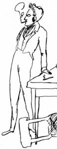 Max Stirner in una caricatura giovanile effettuata da Friedrich Engels