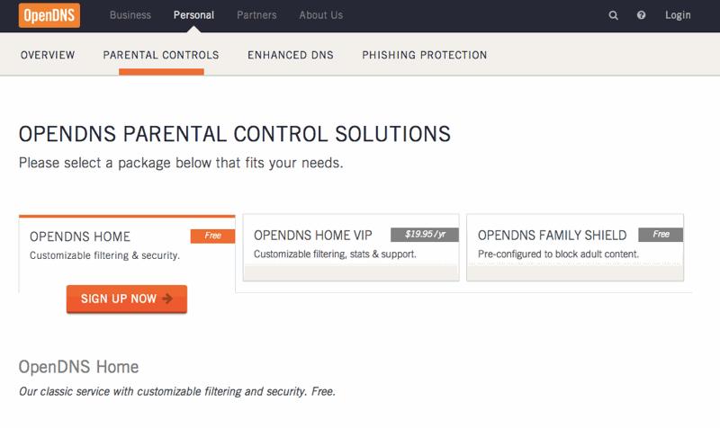 La schermata di OpenDNS attraverso cui scegliere la propria protezione